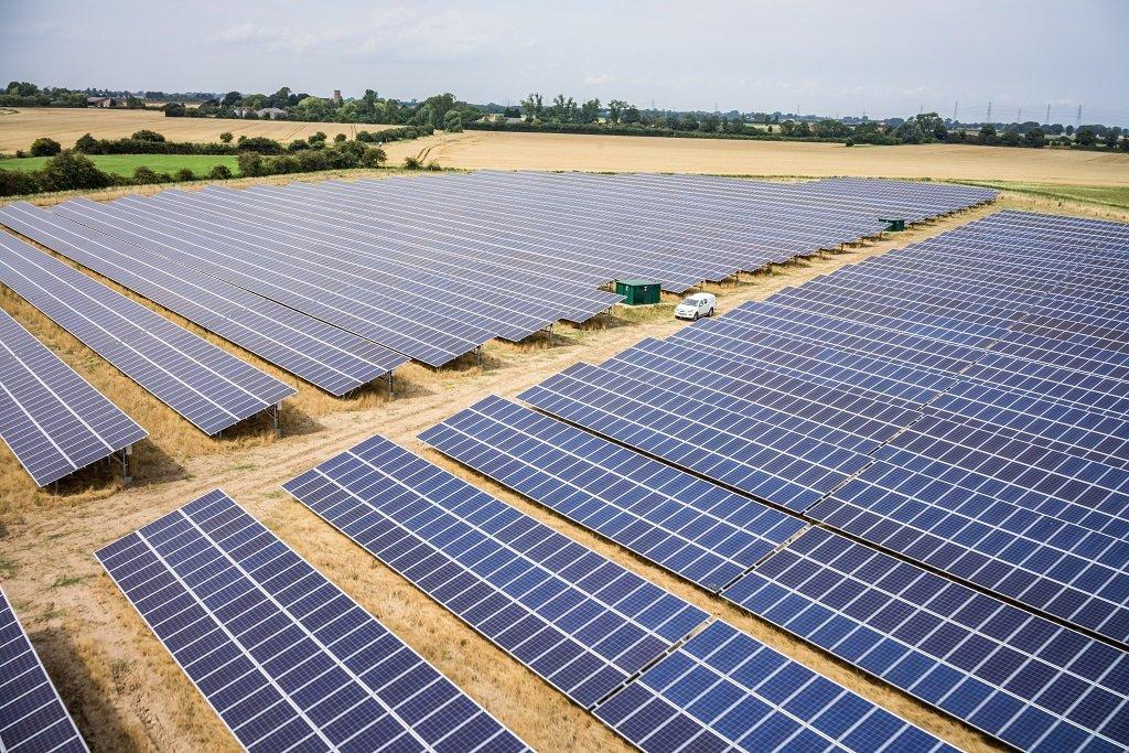 An aerial view of a solar farm