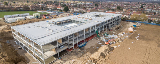 Drone Photography Documenting Construction Site Affected by Storm Doris