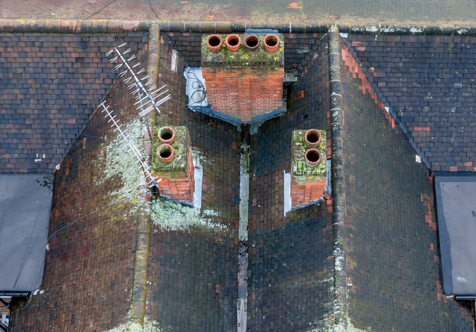 Aerial photography roof inspection of a London property using drones