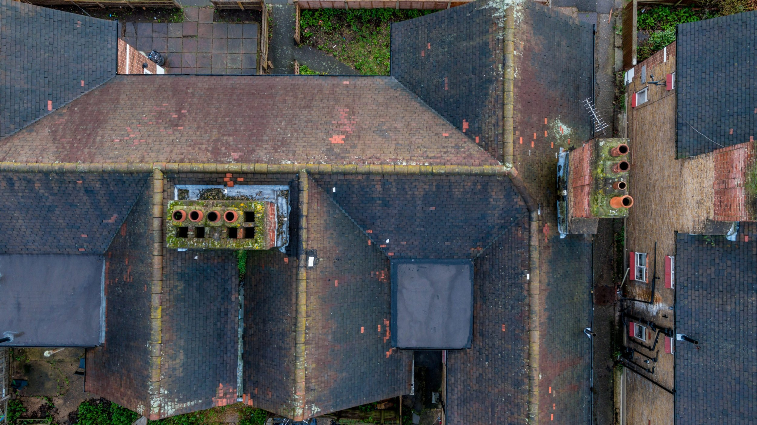 Aerial roof inspection of a London property using drones