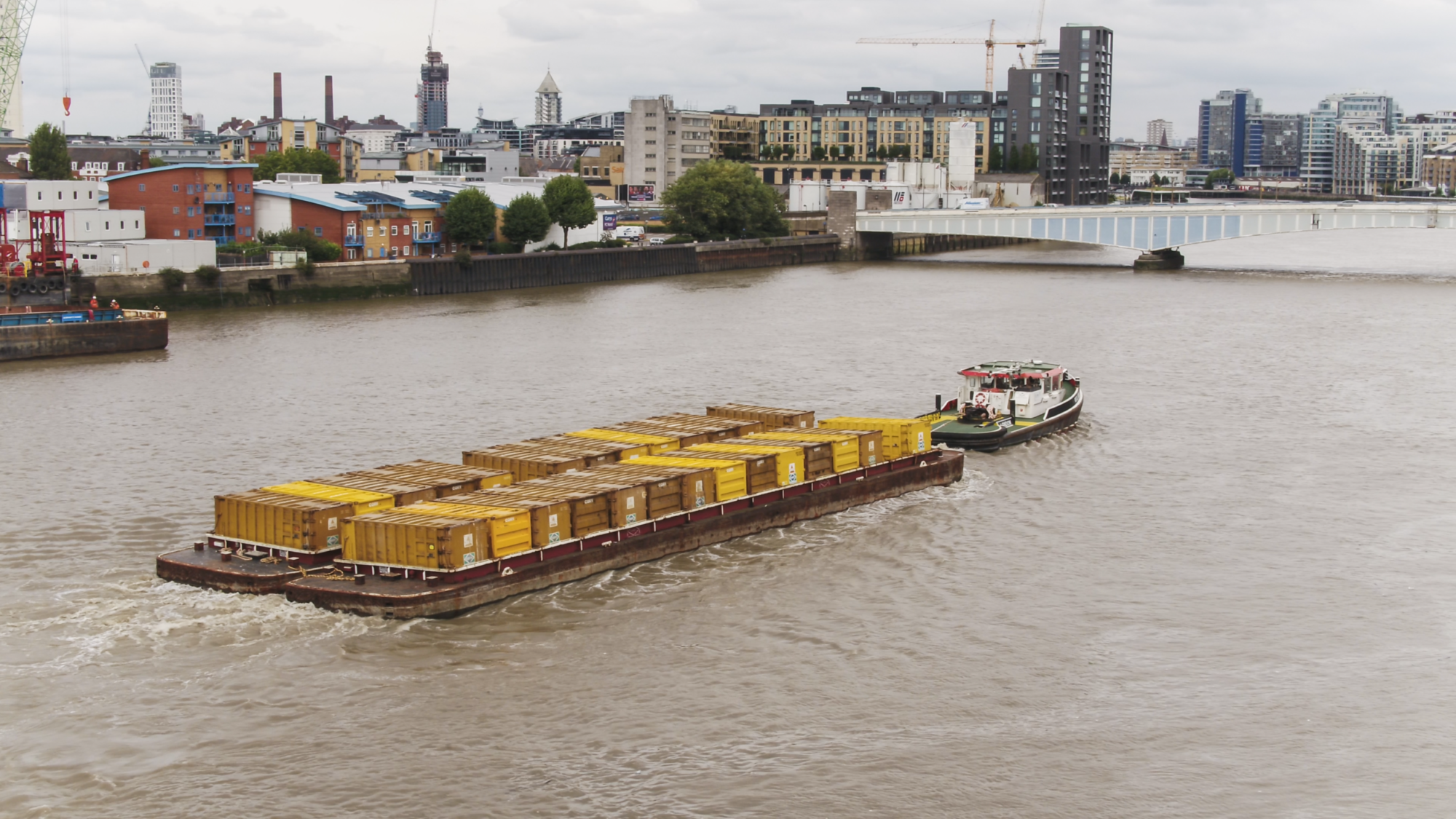 Filming of Corey Riverside barges from the air