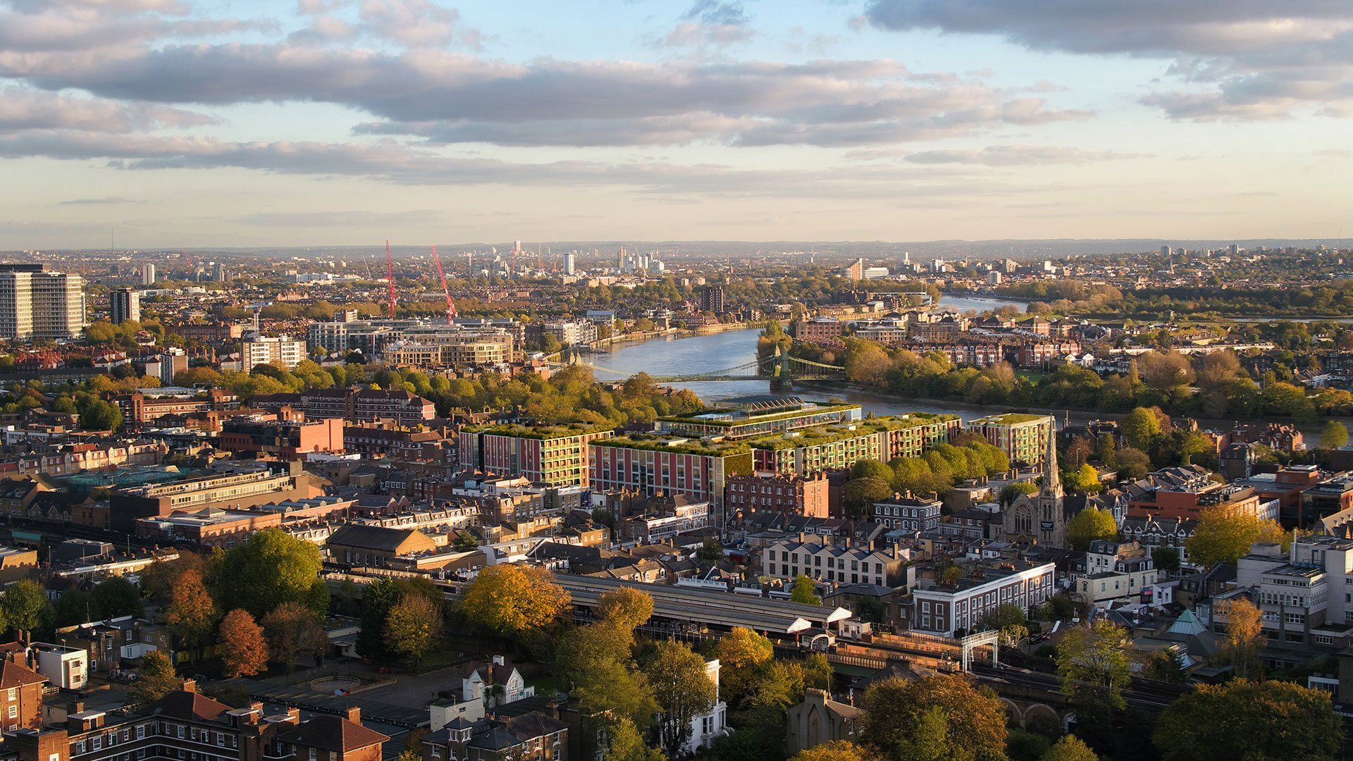 Aerial photography Hammersmith town council 3D CGI Render