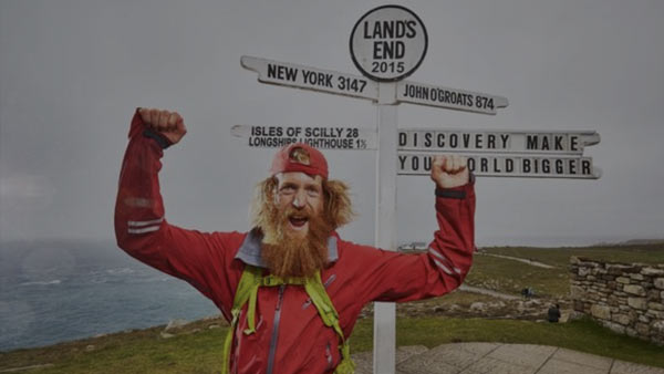 Sean Conway at Lands End, Cornwall