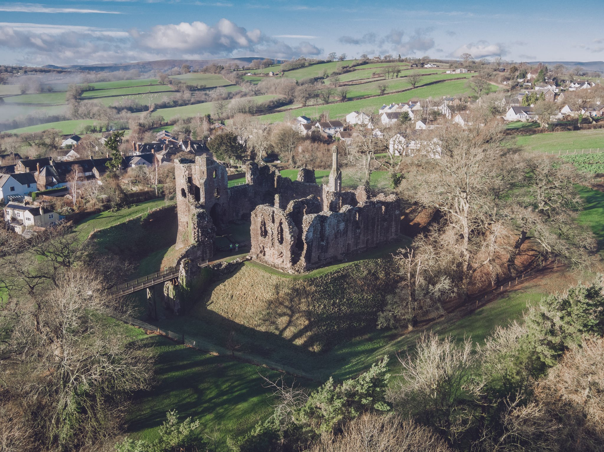 Aerial perspective of Grosmont Castle