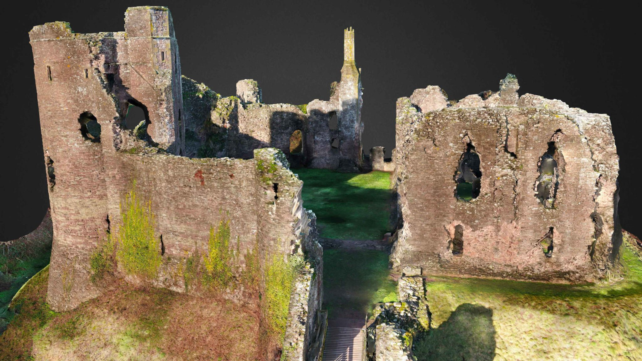 3D aerial render of a castle