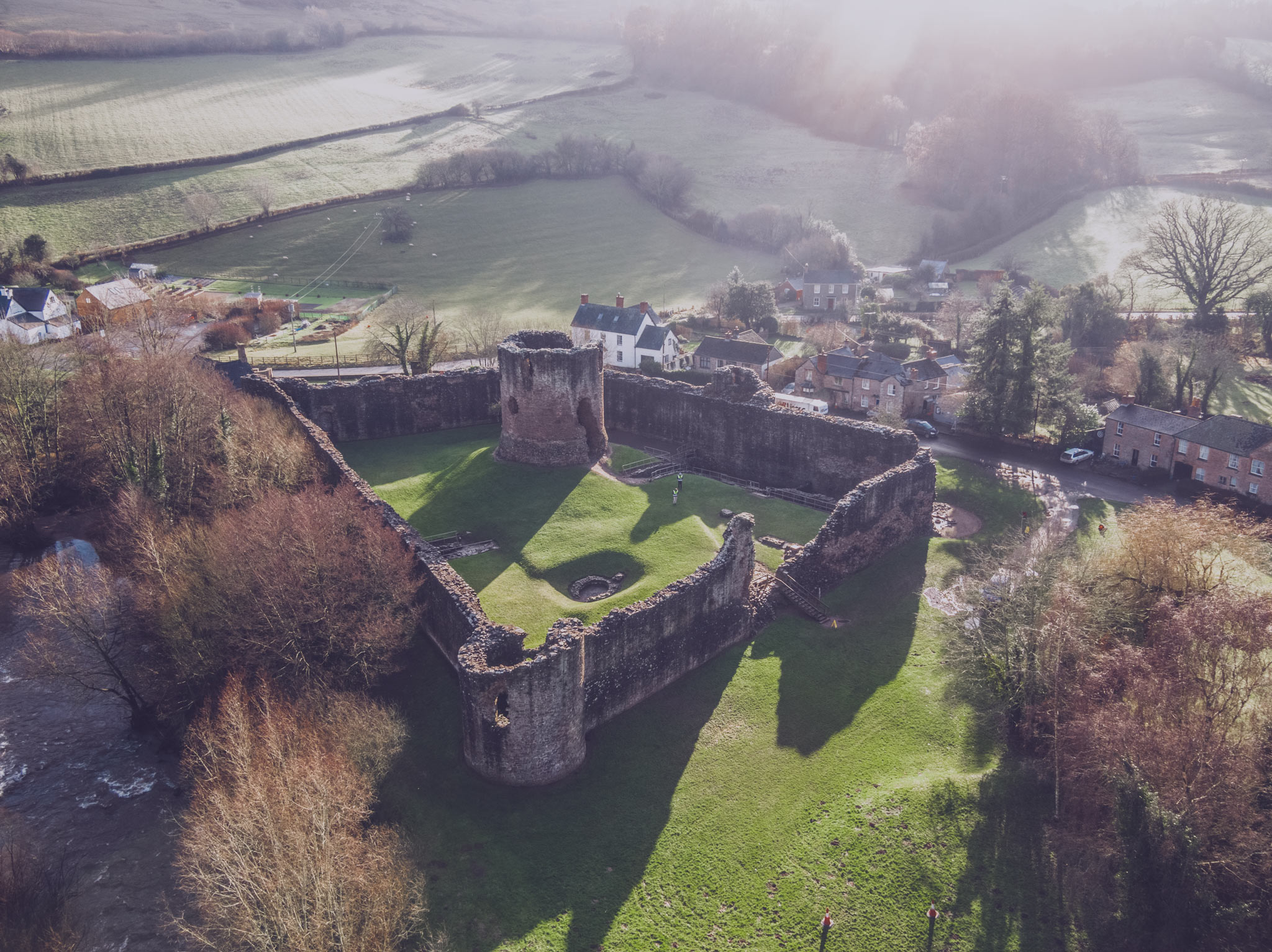 Aerial perspective of Skenfrith Castle