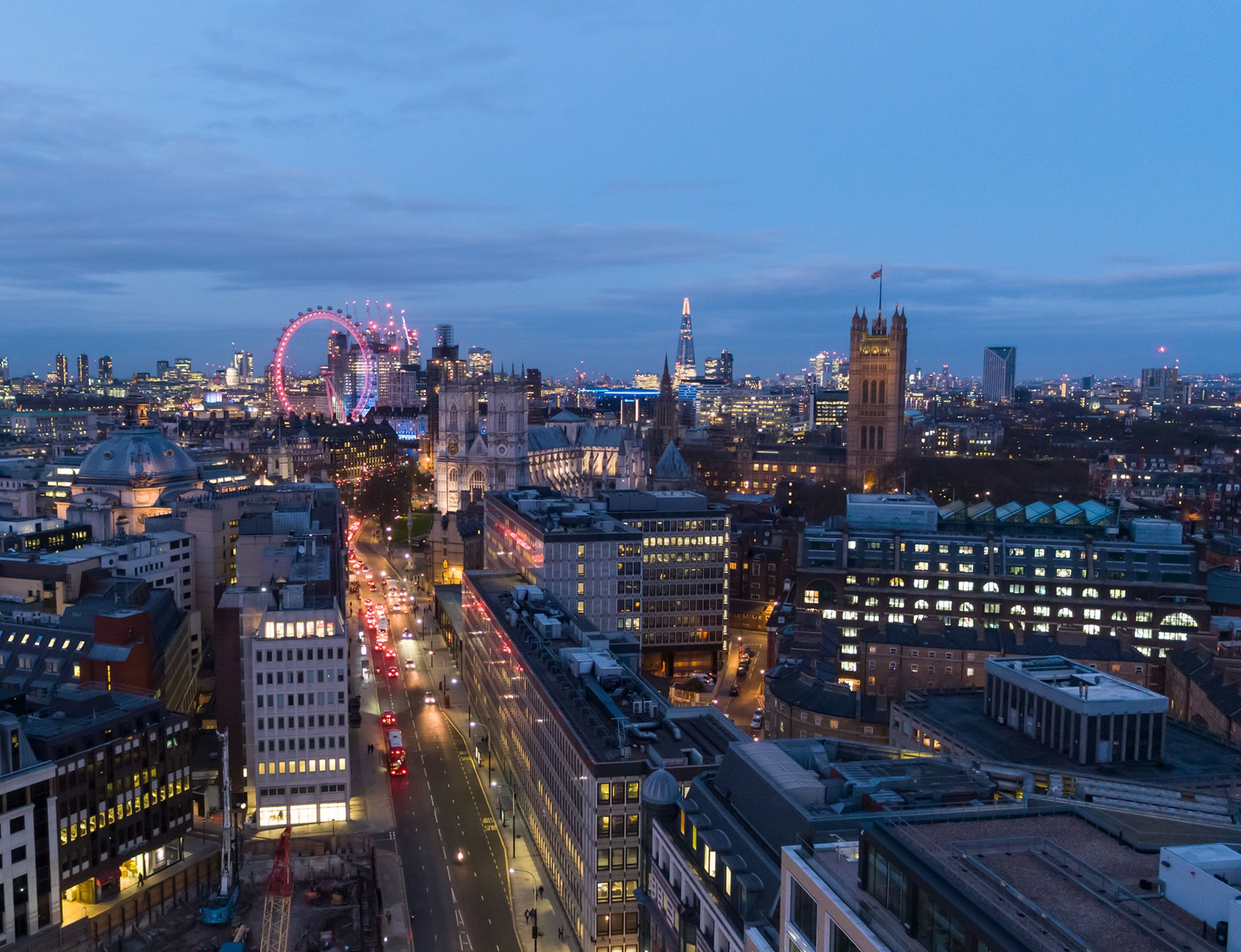 London skyline in the evening drone photograph