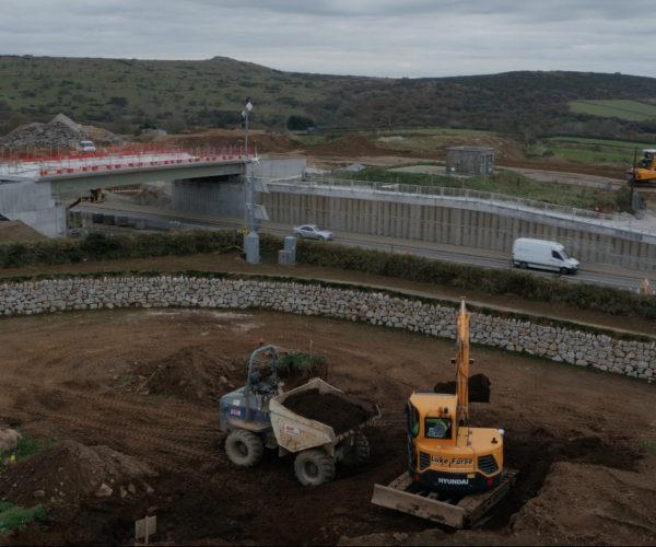 Machinery working on A30 bridge
