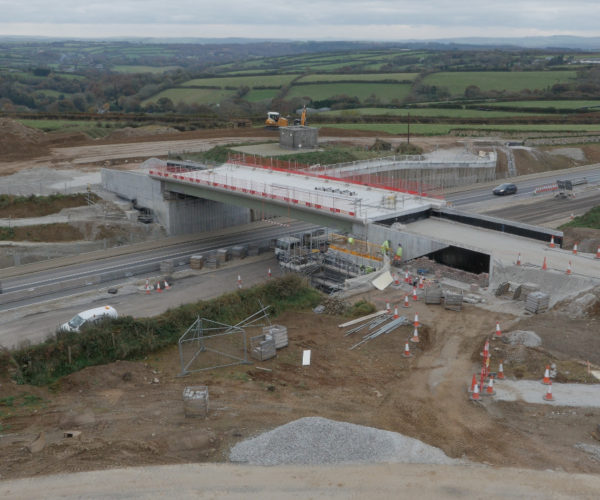 aerial perspective of the A30 bridge under construction