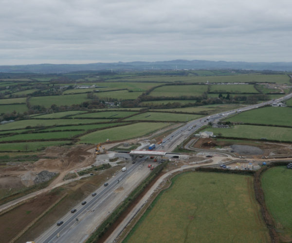 An aerial perspective of the A30 roadworks