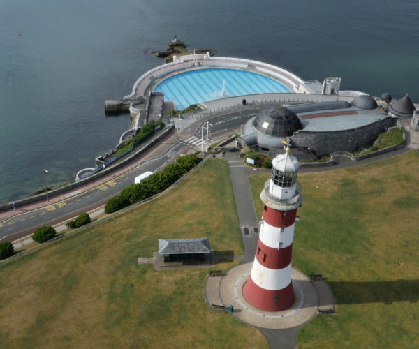 Aerial photography of the lighthouse and lido at Plymouth Hoe
