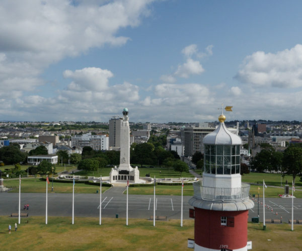 Aerial photography at Plymouth Hoe